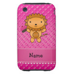 Personalized name lion cupcake pink polka dots tough iPhone 3 cover