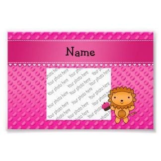 Personalized name lion cupcake pink polka dots photo