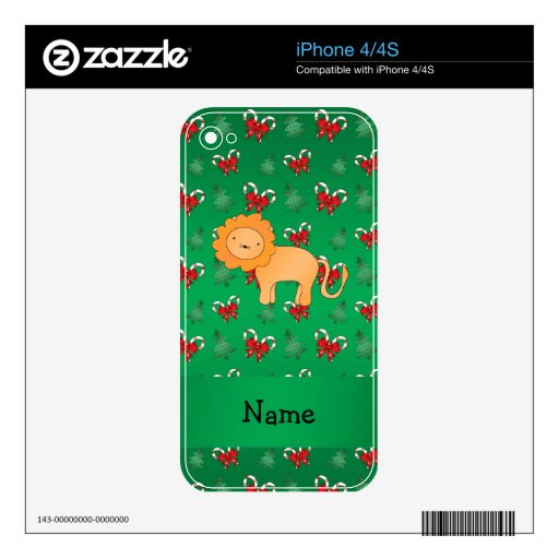 Personalized name lion green candy canes bows iPhone 4S decals