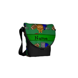 Personalized name lion green footballs helmets courier bag