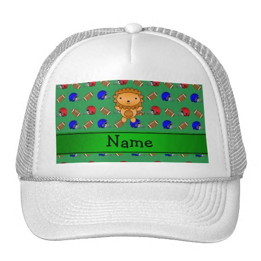 Personalized name lion green footballs helmets mesh hats