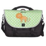 Personalized name lion green polka dots laptop computer bag