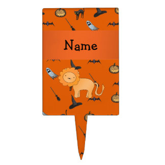 Personalized name lion halloween pattern cake pick