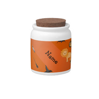 Personalized name lion halloween pattern candy jars
