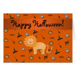 Personalized name lion halloween pattern cards