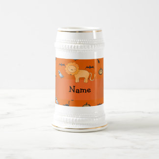Personalized name lion halloween pattern 18 oz beer stein