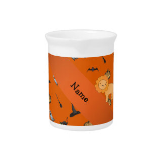 Personalized name lion halloween pattern drink pitchers
