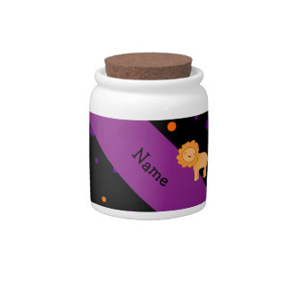 Personalized name lion halloween polka dots candy jars