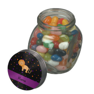 Personalized name lion halloween polka dots glass candy jar