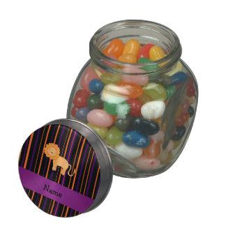 Personalized name lion halloween stripes glass jars