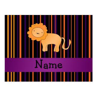 Personalized name lion halloween stripes postcard
