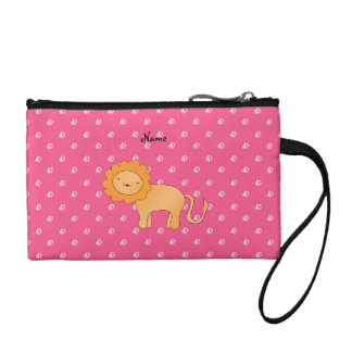 Personalized name lion pink diamonds coin wallet