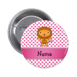 Personalized name lion pink hearts polka dots pinback button