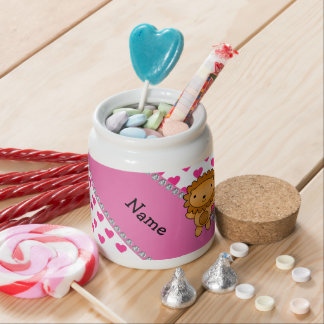Personalized name lion pink hearts polka dots candy jar