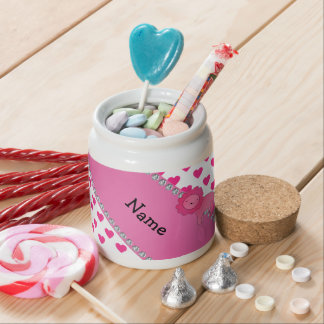 Personalized name lion pink hearts polka dots candy dish