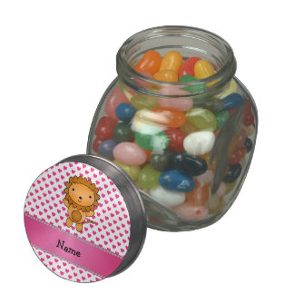 Personalized name lion pink hearts polka dots glass candy jar