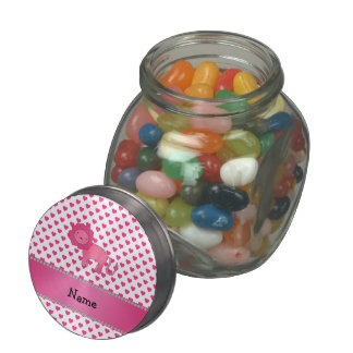 Personalized name lion pink hearts polka dots glass candy jars
