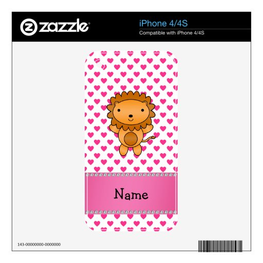 Personalized name lion pink hearts polka dots decals for the iPhone 4S
