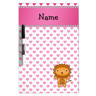 Personalized name lion pink hearts polka dots dry erase whiteboards
