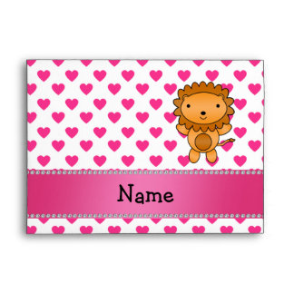 Personalized name lion pink hearts polka dots envelope