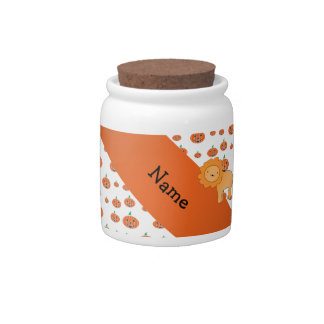 Personalized name lion pumpkins pattern candy jar