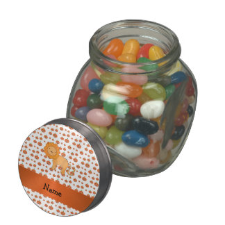 Personalized name lion pumpkins pattern glass candy jars
