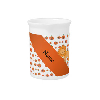 Personalized name lion pumpkins pattern beverage pitchers