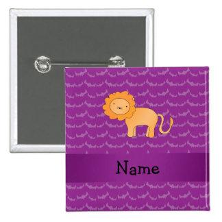 Personalized name lion purple bats 2 inch square button