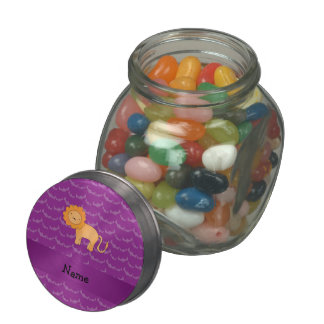 Personalized name lion purple bats jelly belly candy jar