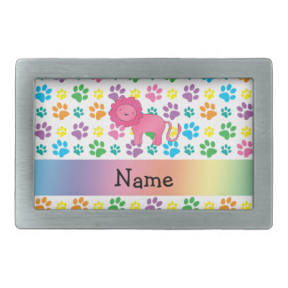Personalized name lion rainbow paws belt buckles