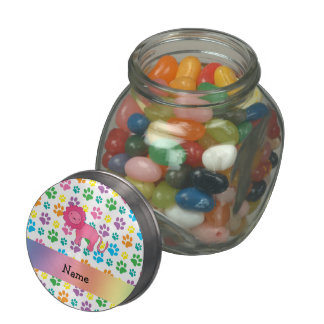 Personalized name lion rainbow paws glass candy jar