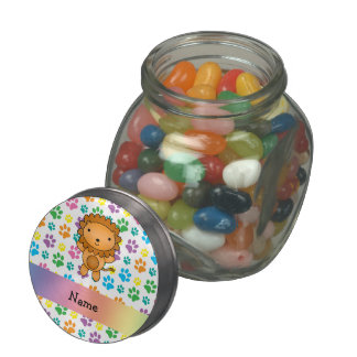 Personalized name lion rainbow paws jelly belly candy jars