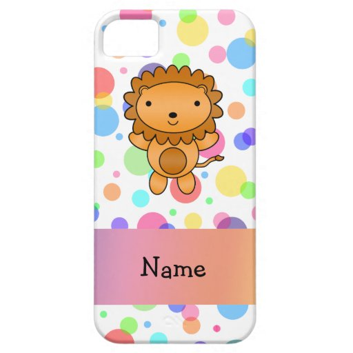 Personalized name lion rainbow polka dots iPhone 5 covers