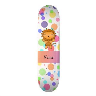 Personalized name lion rainbow polka dots skateboard