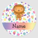 Personalized name lion rainbow polka dots sticker
