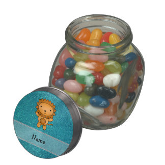 Personalized name lion turquoise glitter glass jars