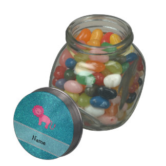 Personalized name lion turquoise glitter jelly belly candy jar