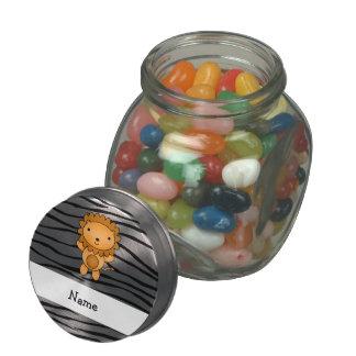 Personalized name lion zebra stripes jelly belly candy jar
