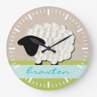 Personalized Name Little Lamb Nursery Clock