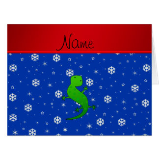 Personalized name lizard blue snowflakes cards