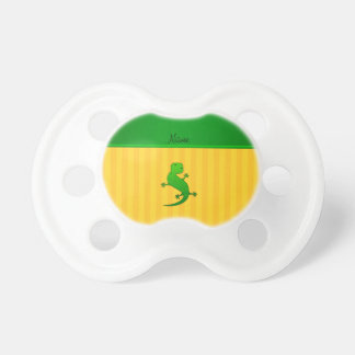 Personalized name lizard yellow stripes BooginHead pacifier