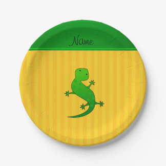 Personalized name lizard yellow stripes paper plate
