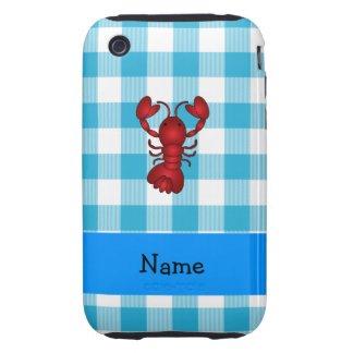 Personalized name lobster blue gingham pattern iPhone 3 tough case