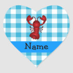 Personalized name lobster blue gingham pattern heart sticker