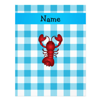 Personalized name lobster blue gingham pattern personalized letterhead