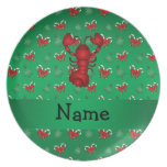 Personalized name lobster green candy canes bows party plate