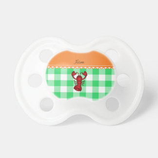 Personalized name lobster green checkers pacifier