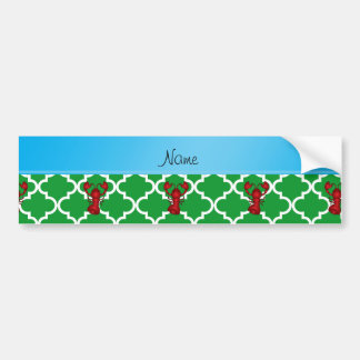Personalized name lobster green moroccan car bumper sticker