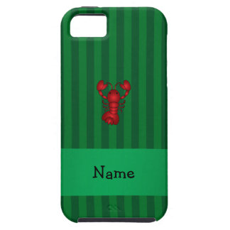 Personalized name lobster green stripes iPhone 5 case