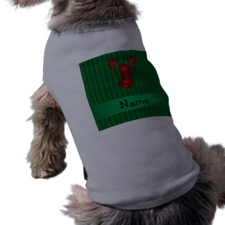 Personalized name lobster green stripes pet shirt